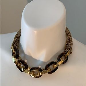 Michael Kors chain link gold/tortoise necklace